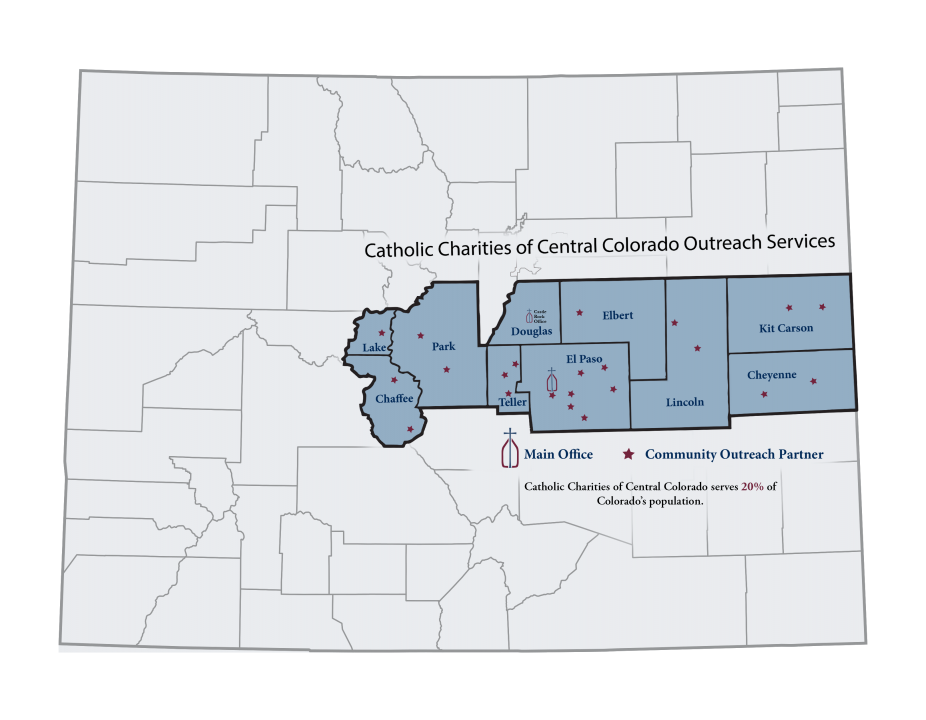 a graphical map of the counties Catholic Charities serves