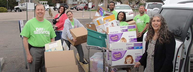 A team collecting in-kind donations