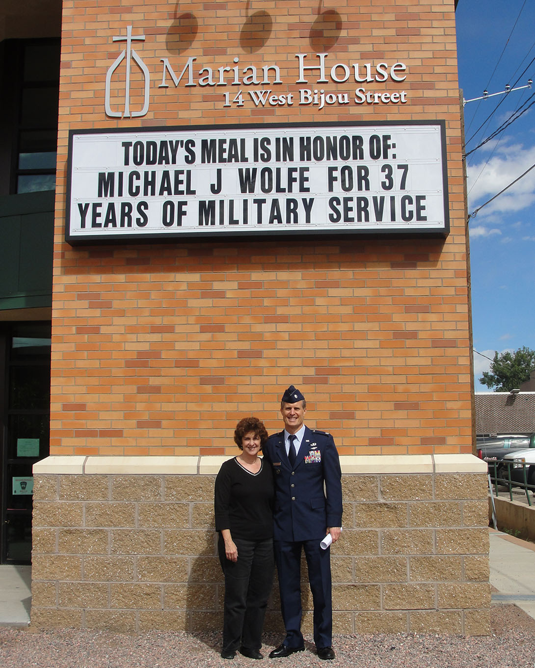 "Marian House Sponsor A Day Michael J Wolfe with marquee text ""Today's meal in in honor of: Micheal J Wolfe for 37 years of military service"""