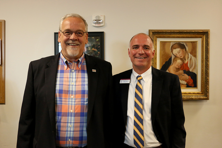 Larry Yonker, CEO of Springs Rescue Mission and Andy Barton, CEO of Catholic Charities of Central Colorado