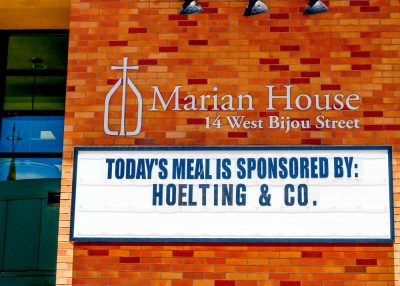 Marque on Marian House with Sponsor a Day Messaging